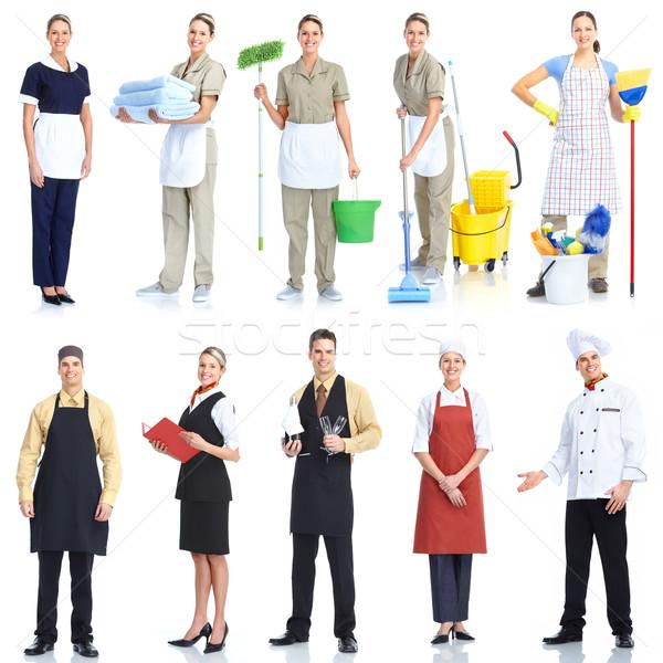 Foto stock: Trabalhadores · pessoas · jovem · sorridente · garçom · chef