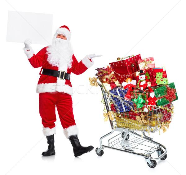 Stockfoto: Kerstman · winkelwagen · geschenken · gelukkig · traditioneel · geïsoleerd