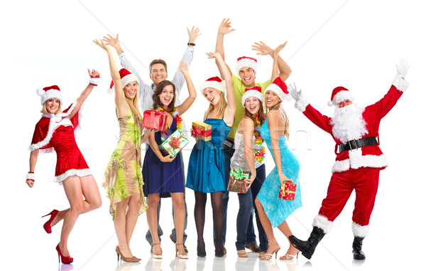 Happy Santa Claus and group of people. Christmas party. Stock photo © Kurhan