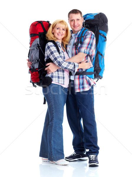 Foto stock: Turistas · feliz · casal · caminhadas · isolado · branco