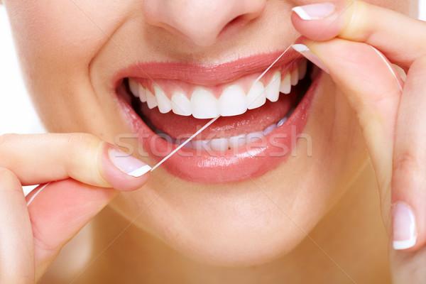 Stock foto: Schöne · Frau · Lächeln · zahnärztliche · Gesundheitspflege · Klinik · Gesicht