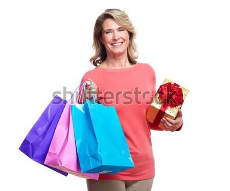 Senior vrouw geïsoleerd witte mode Stockfoto © Kurhan