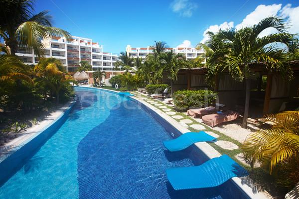 Piscina Caraibi resort esotiche giardino costruzione Foto d'archivio © Kurhan