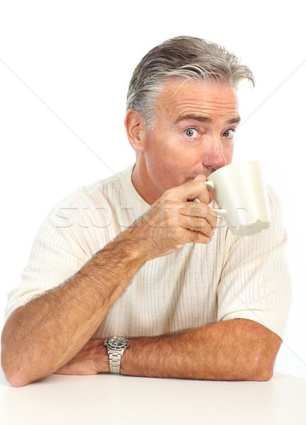 Anziani uomo sorridere Cup isolato bianco Foto d'archivio © Kurhan