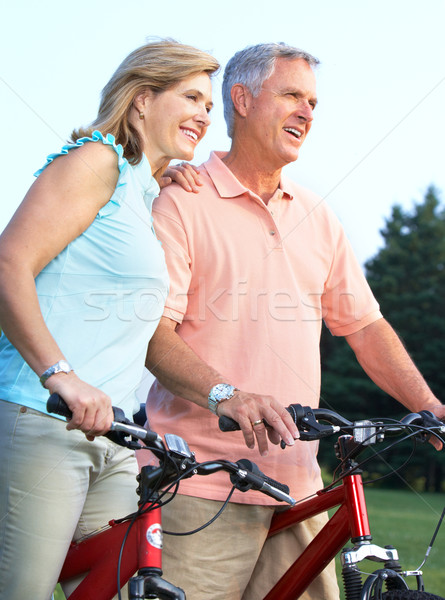 Ciclismo felice anziani parco fitness Foto d'archivio © Kurhan