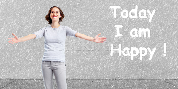Positive happy woman on abstract background. Stock photo © Kurhan