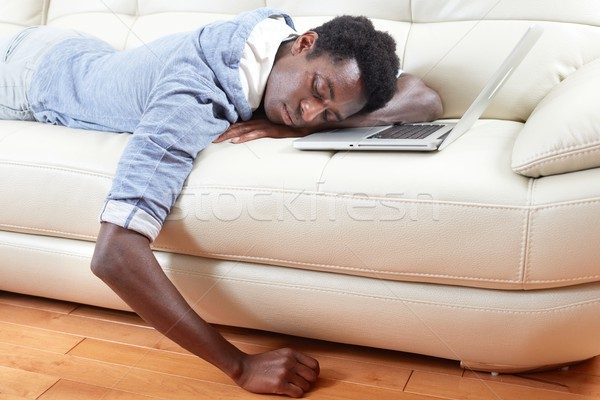 Sleeping black man. Stock photo © Kurhan