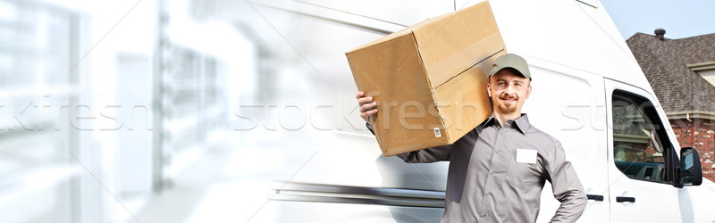 Consegna postino finestra professionali pacchetto fine Foto d'archivio © Kurhan