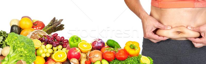 Donna pancia grasso femminile addome frutti Foto d'archivio © Kurhan