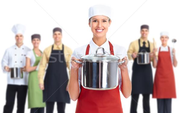 Szakács pék nő csoport profi izolált Stock fotó © Kurhan