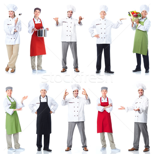 Photo stock: Chef · Baker · professionnels · groupe · isolé