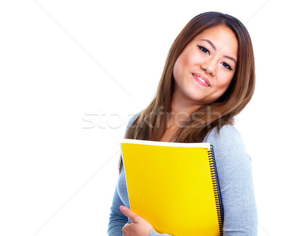 Foto stock: Estudiante · nina · libro · jóvenes · Asia · aislado