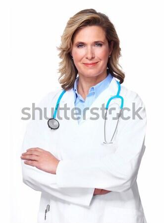 Stockfoto: Arts · vrouw · stethoscoop · geïsoleerd · witte · business