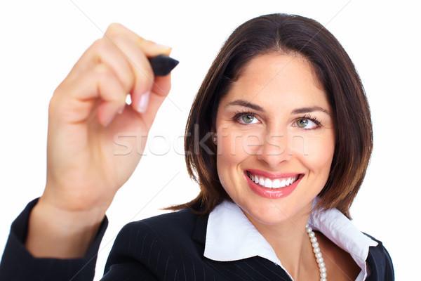 Młodych piśmie kobieta odizolowany biały uśmiech Zdjęcia stock © Kurhan
