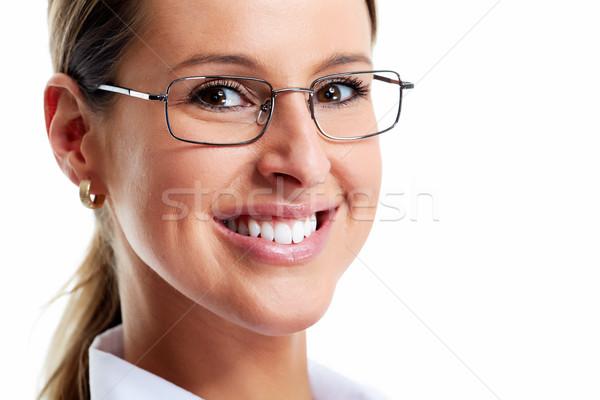 ビジネス女性 笑みを浮かべて 孤立した 白 ビジネス 顔 ストックフォト © Kurhan