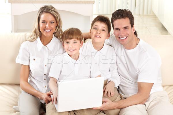 Foto d'archivio: Famiglia · felice · padre · madre · ragazzo · lavoro · laptop