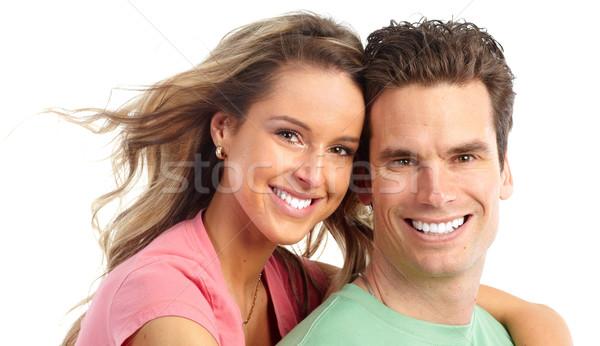 Foto stock: Feliz · Pareja · sonriendo · amor · blanco · mujer