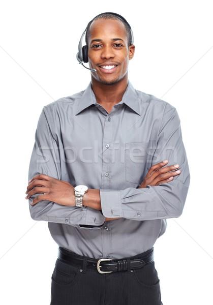 Afroamerikai férfi izolált fehér technológia üzletember Stock fotó © Kurhan