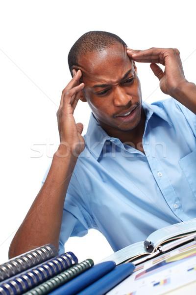 African-American businessman having stress. Stock photo © Kurhan