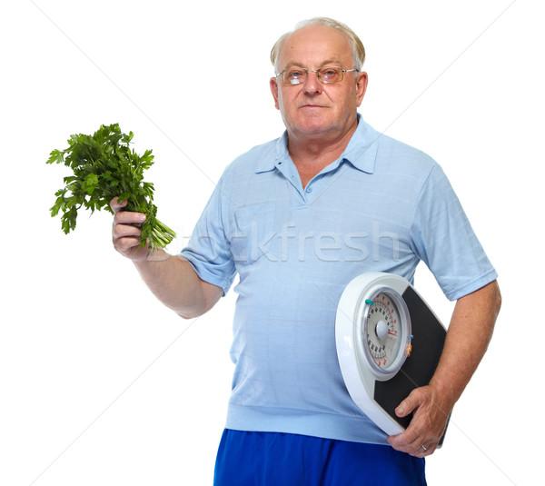 старший человека Весы петрушка пожилого изолированный Сток-фото © Kurhan