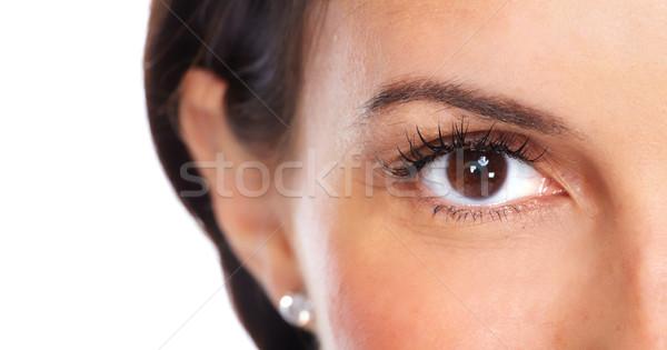 Piękna młoda kobieta oczy odizolowany biały działalności Zdjęcia stock © Kurhan
