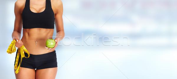 Frau Abdomen Maßband Apfel Gewichtsverlust Diäten Stock foto © Kurhan