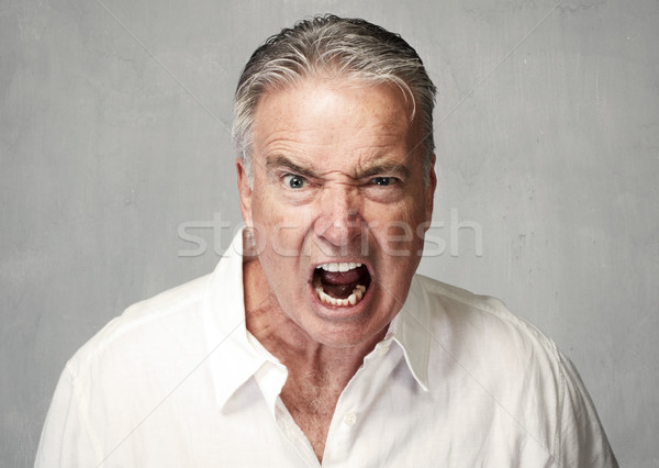 Angry senior man Stock photo © Kurhan