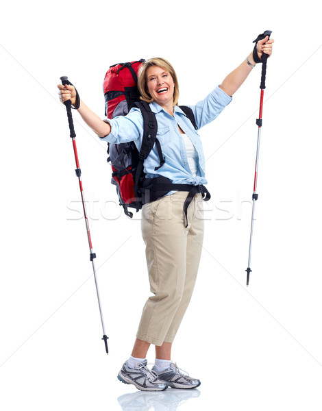 Turystycznych starszy kobieta turystyka odizolowany biały Zdjęcia stock © Kurhan