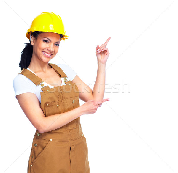 Stockfoto: Werknemer · vrouw · jonge · glimlachend · geïsoleerd · witte