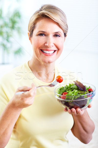 Stock fotó: Idős · nő · saláta · diéta · egészséges · életmód · nők