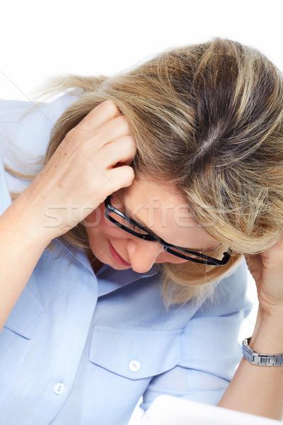 Femme maux de tête stress dépression mains Photo stock © Kurhan