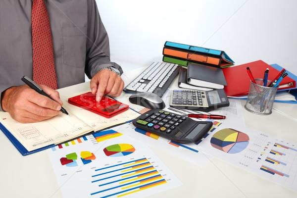 Hände Buchhalter Mann Geschäftsmann Rechner Rechnungslegung Stock foto © Kurhan