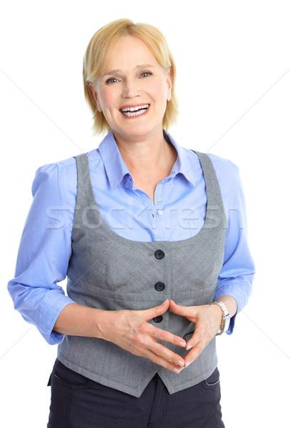 Stockfoto: Zakenvrouw · glimlachend · geïsoleerd · witte · mode · werk