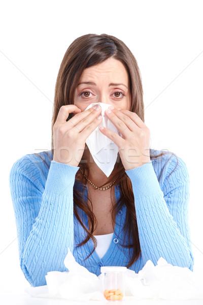 Gripe alergia mulher jovem isolado branco menina Foto stock © Kurhan