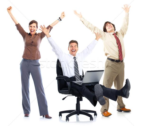 Pessoas felizes feliz pessoas de negócios laptop isolado branco Foto stock © Kurhan