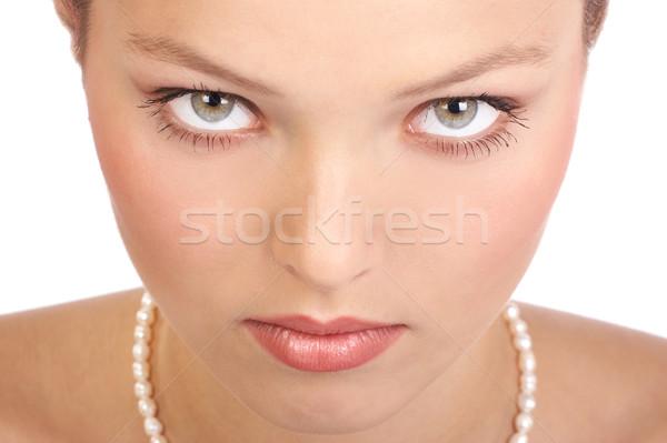 Stockfoto: Mooie · vrouw · gezicht · mooie · jonge · vrouw · witte