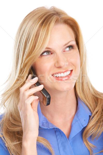 Stockfoto: Vrouw · cellulaire · jonge · zakenvrouw · roepen · mobieltje