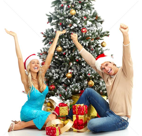 クリスマス カップル 小さな 幸せ クリスマスツリー 孤立した ストックフォト © Kurhan