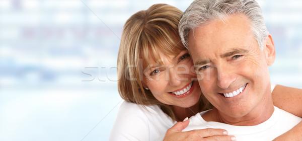 Elderly couple with white teeth. Stock photo © Kurhan