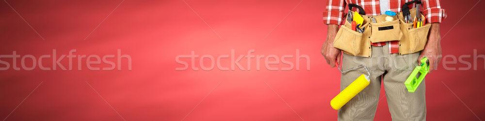Stock fotó: építész · ezermester · festék · építkezés · szerszámok · piros