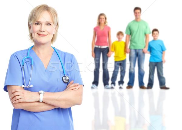 Aile doktor yalıtılmış beyaz sağlık iş Stok fotoğraf © Kurhan