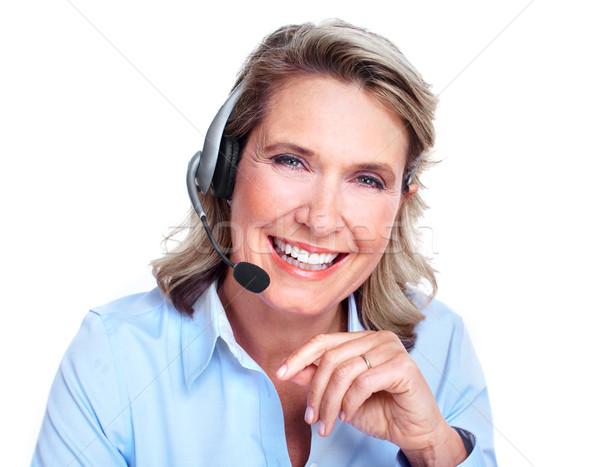 Klantenservice vertegenwoordiger vrouw werken kantoor gelukkig Stockfoto © Kurhan