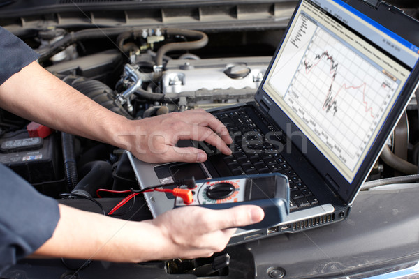 Foto stock: Carro · mecânico · trabalhando · automático · reparar · serviço