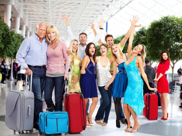 Pessoas felizes aeroporto grupo férias viajar família Foto stock © Kurhan