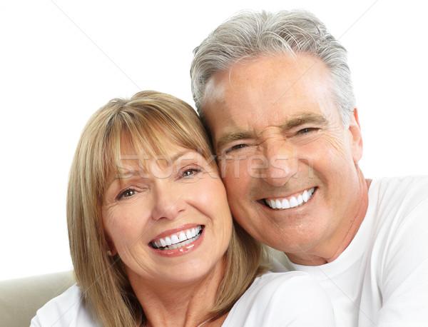 Foto stock: Pareja · feliz · amor · saludable · dientes