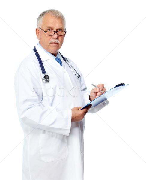Zdjęcia stock: Starszy · lekarza · dojrzały · piśmie · recepta · odizolowany