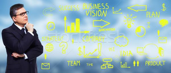 Stockfoto: Zakenman · naar · business · kantoor · onderwijs · denken