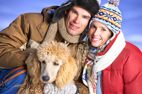 Love couple with dog Stock photo © Kurhan