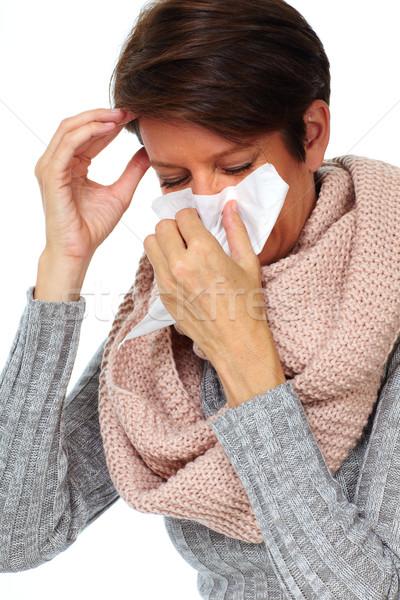 Nő papírzsebkendő influenza egészségügy kéz egészség Stock fotó © Kurhan