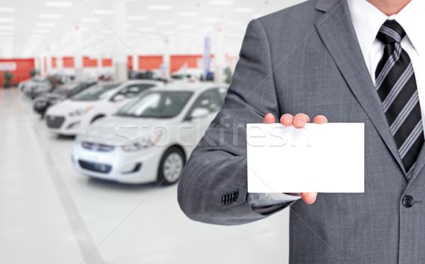 Autó kereskedő névjegy járművek autó férfi Stock fotó © Kurhan